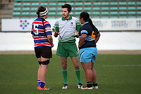 Referee Jacob Booth talks to the team captains during the 2019 Manawatu premier women's club rugby Prue Christie Cup final match between Feilding Old Boys Oroua and Kia Toa at CET Arena in Palmerston North, New Zealand on Saturday, 13 July 2019. Photo: Dave Lintott / lintottphoto.co.nz