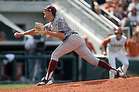 Texas A&M Aggies pitcher Kyle Martin #32 delivers during the NCAA baseball game against the Texas Longhorns on April 29, 2012 at UFCU Disch-Falk Field in Austin, Texas. The Longhorns beat the Aggies 2-1 in the last ever regular season game scheduled for the long time rivals. (Andrew Woolley / Four Seam Images)