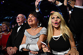 Supporters cheer United States President Donald Trump and First Lady Melania Trump at the Freedom Ball on January 20, 2017 in Washington, D.C. Trump will attend a series of balls to cap his Inauguration day.      <br /> Credit: Kevin Dietsch / Pool via CNP