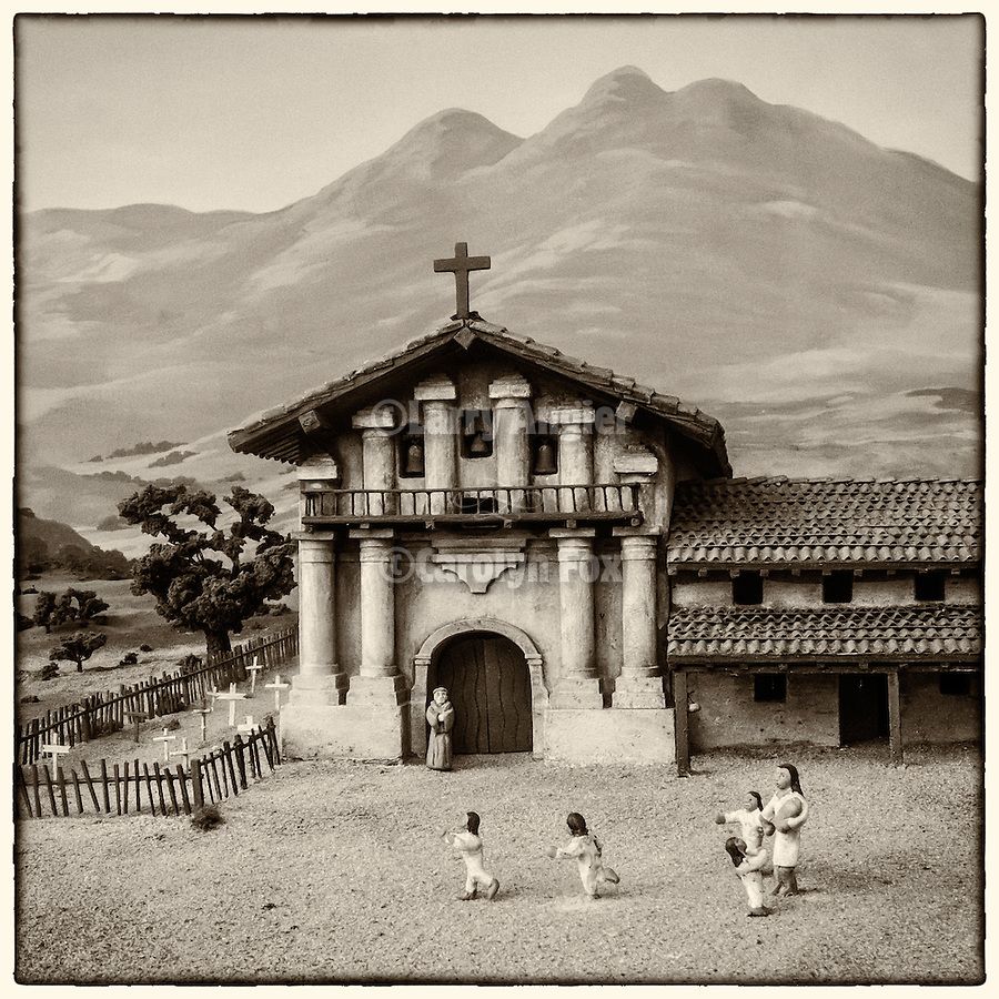 Diorama of the historic Mission San Francisco de Asís (Mission Dolores), sixth mission founded in California by Fr. Junipero Serra June 29, 1776. The mission survived the 1906 earthquake though the original adobe church did not.