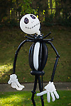 Merrick, New York, USA. October 29, 2016. A spooky, life-size Jack Skellington made of black and white balloons is an eye-catching decoratation at the 2016 annual Merrick Spooktacular hosted in part by the North and Central Merrick Civic Association (NCMCA). The holiday party was at Fraser Park.