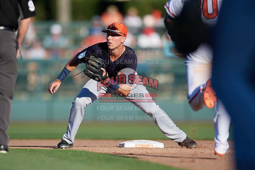 Detroit Tigers second baseman Kody Clemens (89) waits to receive a throw during a Grapefruit League Spring Training game against the Baltimore Orioles on March 3, 2019 at Ed Smith Stadium in Sarasota, Florida.  Baltimore defeated Detroit 7-5.  (Mike Janes/Four Seam Images)