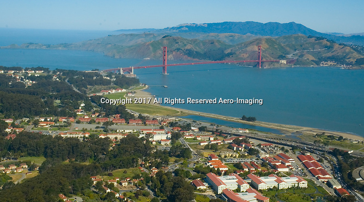 Aerial view of the Presidio and Golden Gate Bridge, San Francisco California