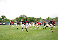 Clarence Seedorf of AC Milan  leads a drill during a practice session at RFK practice facility in Washington DC on May 24 2010.