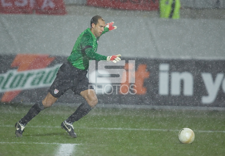 Tim Howard prepares for a goal kick in the snow at Fritz-Walter Stadium, Kaiserslautern, Germany, Wednesday, March 1, 2006. USA 1-0.