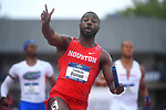 EUGENE, OR - JUNE 8: Cameron Burrell of the Houston Cougars celebrates after winning the 4x100 meter relay during the Division I Men's Outdoor Track & Field Championship held at Hayward Field on June 8, 2018 in Eugene, Oregon. (Photo by Jamie Schwaberow/NCAA Photos via Getty Images)