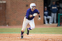 Dane McDermott (7) of the High Point Panthers hustles down the first base line against the UNCG Spartans at Willard Stadium on February 14, 2015 in High Point, North Carolina.  The Panthers defeated the Spartans 12-2.  (Brian Westerholt/Four Seam Images)