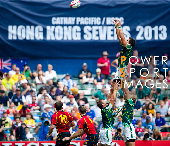 Spain play South Africa in a Bowl Quarter Final on Day 3 of the Cathay Pacific / HSBC Hong Kong Sevens 2013 on 24 March 2013 at Hong Kong Stadium, Hong Kong. Photo by Manuel Queimadelos / The Power of Sport Images
