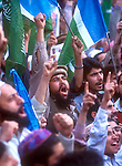 Participants in a Peshawar rally sponsored by religious parties opposed to the U.S. war on Afghanistan and the Pakistani government's support for the violence..