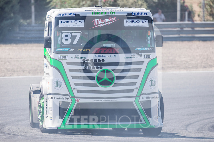 Finnish driver John Hemming belonging Finnish Team John Hemming during the super pole SP1 of the XXX Spain GP Camion of the FIA European Truck Racing Championship 2016 in Madrid. October 01, 2016. (ALTERPHOTOS/Rodrigo Jimenez)