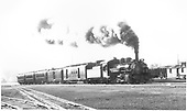 #473 with westbound San Juan leaving Alamosa.<br /> D&amp;RGW  Alamosa, CO  Taken by Ward, Bert H. - 7/12/1946