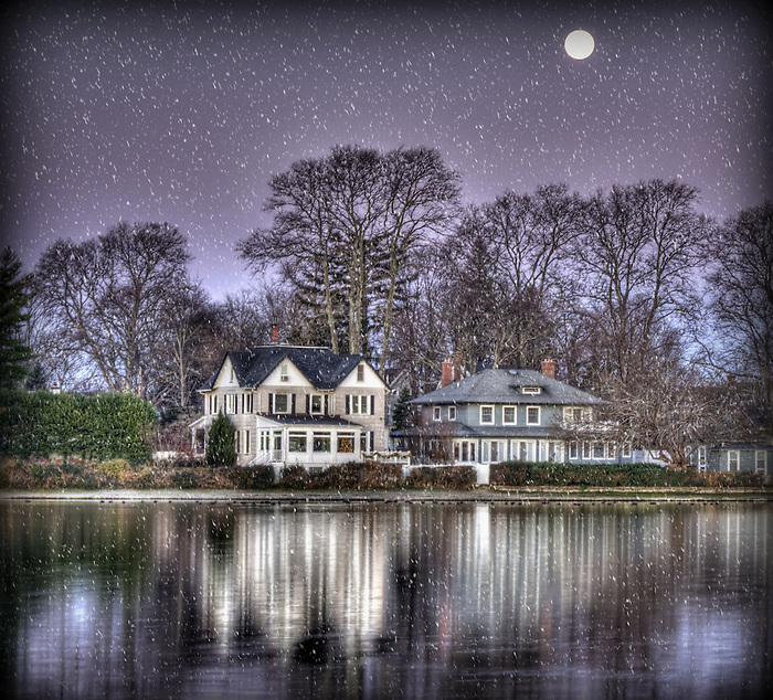Winter Wonderland on Argyle Lake, Babylon Village, New York