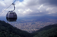 View of Caracas from the Teleferico cable car that takes passengers to Parque Nacional El Avila, Caracas, Venezuela