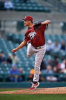 Lehigh Valley IronPigs pitcher Severino Gonzalez (13) follows through on a pitch a game against the Rochester Red Wings on May 15, 2015 at Frontier Field in Rochester, New York.  Rochester defeated Lehigh Valley 5-4.  (Mike Janes/Four Seam Images)