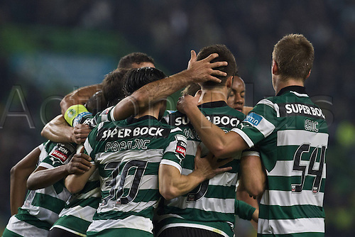 10.12.2012.  Lisbon Portugal Sporting team celebrating their Goal during The Soccer Derby between Sporting Clube de Portugal and Sl Benfica  The Portuguese  Zon Sagres League at Sportings Stadium in Lisbon. Benfica won the tie by 1-3.