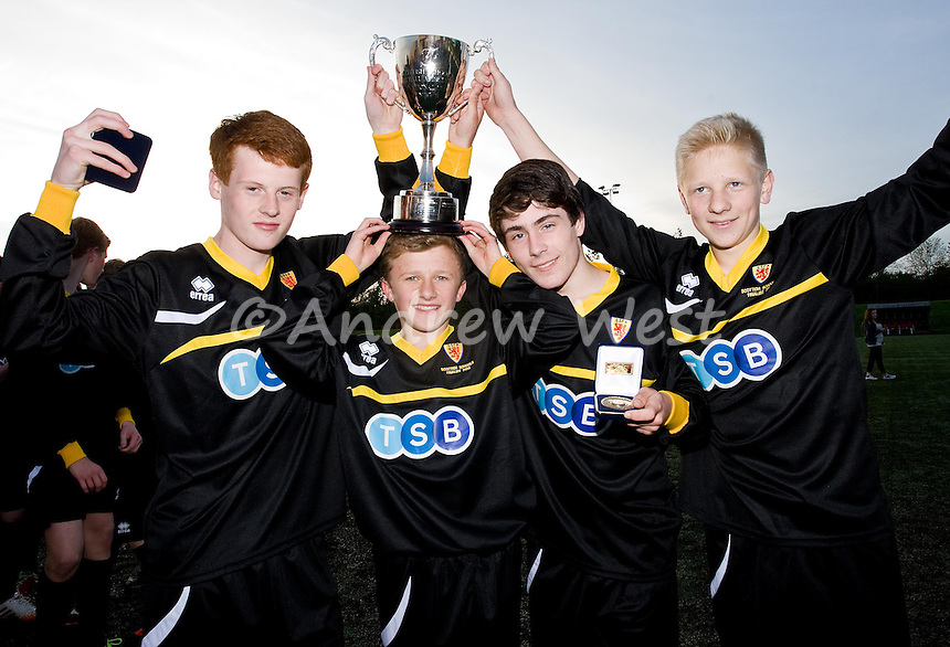 SCOTTISH SCHOOLS UNDER 15 REGIONAL FINAL<br /> DUNDEE SCHOOLS 4-2 AYRSHIRE SCHOOLS<br /> Dundee schools goalscorers (l to r) Taylor Carroll, Rory Faulkner, Ben Mooney, and Adam Brown