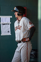San Jose Giants center fielder Bryce Johnson (28) during a California League game against the Modesto Nuts at John Thurman Field on May 9, 2018 in Modesto, California. San Jose defeated Modesto 9-5. (Zachary Lucy/Four Seam Images)