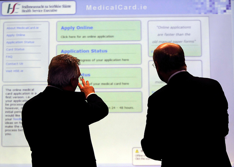 """.Patrick Burke, Head of the HSE's Primary Care Reimbursement Service (left) and Professor Brendan Drumm, CEO of the HSE pictured here at the launch of """"MedicalCard.ie"""". The new HSE website allows people to apply for a Medical Card/GP Card online at www.medicalcard.ie. Pic. Robbie Reynolds/CPR"""