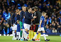29th October 2019; Goodison Park, Liverpool, Merseyside, England; English Football League Cup, Carabao Cup Football, Everton versus Watford; Seamus Coleman of Everton leads his team as they line up to shake hands with the Watford players prior to the kick off - Strictly Editorial Use Only. No use with unauthorized audio, video, data, fixture lists, club/league logos or 'live' services. Online in-match use limited to 120 images, no video emulation. No use in betting, games or single club/league/player publications