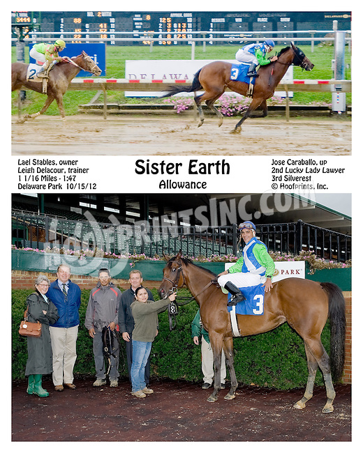 Sister Earth winning at Delaware Park on 10/15/12