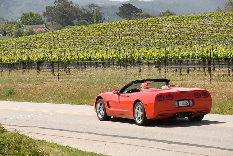 California, San Luis Obispo County: Sports car on back country drive near Edna Valley Vineyard..caluis124-70769..Photo copyright Lee Foster, www.fostertravel.com, 510-549-2202, lee@fostertravel.com