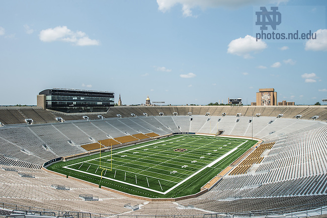 Jul. 30, 2-14; Notre Dame Stadium after completion of installation of field turf.<br /> <br /> Photo by Matt Cashore/University of Notre Dame