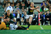 9th September 2017, nib Stadium, Perth, Australia; Supersport Rugby Championship, Australia versus South Africa; Ross Cronje of the South African Springboks passes the ball from the ruck during the second half
