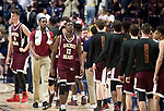 UNCASSVILLE, CT-031818JS20- Sacred Heart's Raheem Solomon (11) makes his way back to the bench after shaking hand with players from Notre Dame-Fairfield following their 65-60 loss in the Division I championship game Sunday at Mohegan Sun Arena. <br /> Jim Shannon Republican-American