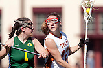 Santa Barbara, CA 02/13/10 - Cristen Skope (Oregon #1) and Bernadette Vingerhoets (Texas #12) in action during the Texas-Oregon game at the 2010 Santa Barbara Shoutout, Texas defeated Oregon 11-9.