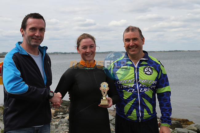 Sue McKinney gets presented with Ladies 1st Prize at the Green Buoy 1KM Swim in Clogherhead....(Photo credit should read Jenny Matthews/NEWSFILE)...