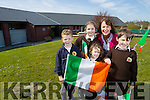 Adam Mac Seoin, front Caoimhe Ní Dhálaigh, Roza Ní Loingsigh,  Cáit Uí Chonchúir (Principal) agus Antóin Ó Buachalla, pictured at Gaelscoil Mhic Easmainn, Tralee on Wednesday morning as they are prepare to welcome President Michael D Higgins to their school on Thursday April 21st.