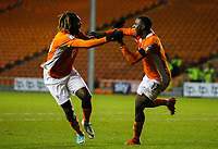 Blackpool's Viv Solomon-Otabor celebrates scoring his side's equalising goal to make the score 1-1 with Dolly Menga<br /> <br /> Photographer Alex Dodd/CameraSport<br /> <br /> The EFL Sky Bet League One - Blackpool v Portsmouth - Saturday 11th November 2017 - Bloomfield Road - Blackpool<br /> <br /> World Copyright &copy; 2017 CameraSport. All rights reserved. 43 Linden Ave. Countesthorpe. Leicester. England. LE8 5PG - Tel: +44 (0) 116 277 4147 - admin@camerasport.com - www.camerasport.com