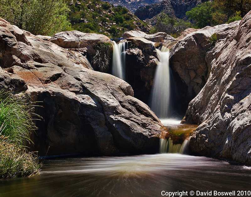 A small waterfall on the seasonal stream in Romero Canyon, in the Pusch Ridge Wilderness Area, north of Tucson, Arizona.