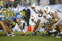 1 October 2006: David Lofton, Ekom Udofia and Will Powers line up during Stanford's 31-0 loss to UCLA at the Rose Bowl in Pasadena, CA.