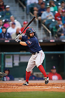 Pawtucket Red Sox second baseman Mike Miller (10) at bat during a game against the Buffalo Bisons on August 31, 2017 at Coca-Cola Field in Buffalo, New York.  Buffalo defeated Pawtucket 4-2.  (Mike Janes/Four Seam Images)