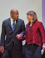 United States Representative John Lewis (Democrat of Georgia), left, and Susannah Heschel, Eli Black Associate, Professor of Jewish Studies, Dartmouth College, right, arrive on stage to discuss Jewish involvement in the Civil Rights Movement at the National Museum of African American History and Culture in Washington, DC during the Jewish Federations of North America General Assembly on Sunday, November 13, 2016. <br /> Credit: Ron Sachs / CNP /MediaPunch