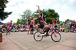 The Sprockettes, an all female synchronized mini-bike dance troupe, perform at Pedalpalooza's Sunday Parkways Bicycle Ride in Peninsula Park in Portland, Oregon