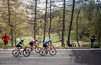 Maglia Azzurra / KOM leader Giulio Ciccone (ITA/Trek-Segafredo) with Bauke Mollema  (NED/Trek-Segafredo) & Davide Formolo (ITA/Bora-Hansgrohe) up the Colle San Carlo (Cat1/1921m/10.1km/9.8%)<br /> <br /> Stage 14: Saint Vincent to Courmayeur/Skyway Monte Bianco (131km)<br /> 102nd Giro d'Italia 2019<br /> <br /> ©kramon