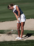 Brandi Chastain chips out of a sand trap during practice rounds at the American Century Championship golf tournament at Edgewood Tahoe at Stateline, Nev., on Wednesday, July 18, 2012..Photo by Cathleen Allison