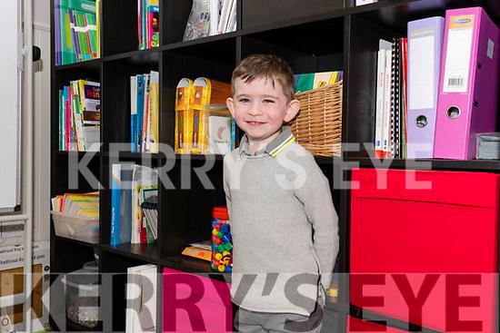 Scoil Caitlin Naofa, Cill Mhic a' Domhnaigh, pupil Neil Ó Sé on his first day at school.