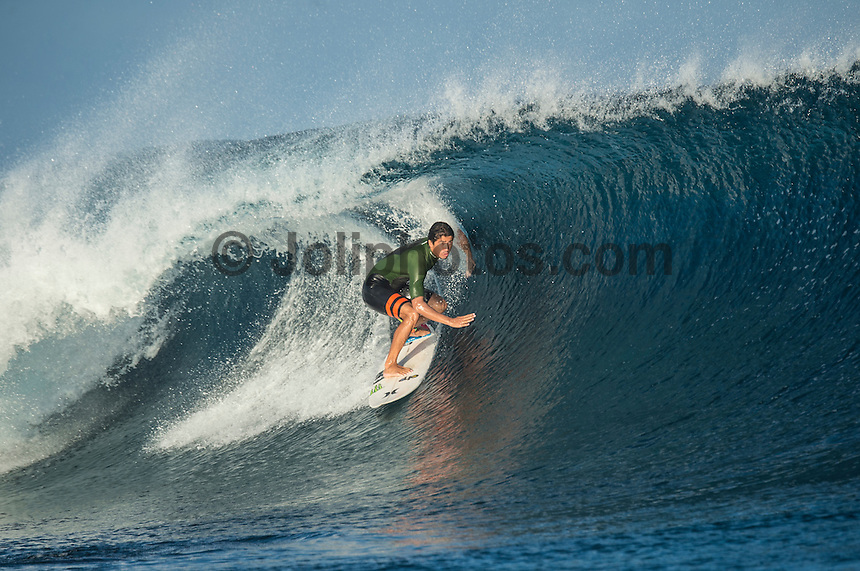 Namotu Island Resort, Namotu, Fiji. (Wednesday June 4, 2014) Miguel Pupo (BRA) – The 2014 Fiji Pro was called on again this morning with the swell running in the 3' -4' range. The contest started early with Round 2 and continued till late in the afternoon, ending with Heat 6 of Round 3.The conditions stayed contestable all day with some clean barrels around the bottom of the tide. Photo: joliphotos.com