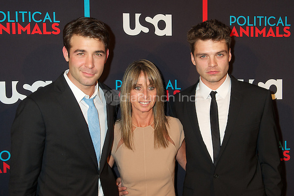 James Wolk and Sebastian Stan with Bonnie Hammer at the screening of USA Network's 'Political Animals' at the Morgan Library & Museum in New York City. June 25, 2012. © Ronald Smits/MediaPunch Inc.