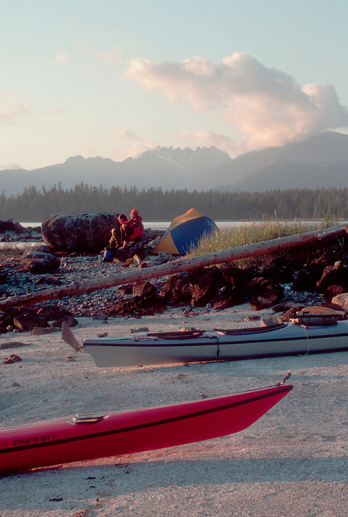 Sea kayaker's campsite, Barkley Sound, Pacific Rim National Park, west coast of Vancouver Island, British Columbia, Canada, Hand Island,