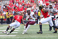 College Park, MD - September 22, 2018:  Minnesota Golden Gophers wide receiver Tyler Johnson (6) avoids the tackle during the game between Minnesota and Maryland at  Capital One Field at Maryland Stadium in College Park, MD.  (Photo by Elliott Brown/Media Images International)