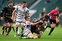 Andrew Kellaway of Northampton Saints is tackled to ground by George Ford of Leicester Tigers. Gallagher Premiership match, between Northampton Saints and Leicester Tigers on October 6, 2018 at Twickenham Stadium in London, England. Photo by: Patrick Khachfe / JMP