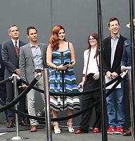 02 August 2017 - Universal City, California.  Sean Hayes, Debra Messing, Eric Garcetti, Megan Mullally, Eric McCormack. 'Will & Grace' start of production kick off event and ribbon cutting ceremony at Universal Studios Photo Credit: PMA/AdMedia