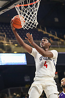 Washington, DC - December 22, 2018: Richmond Spiders forward Nathan Cayo (4) goes for a layup during the DC Hoops Fest between High Point and Richmond at  Entertainment and Sports Arena in Washington, DC.   (Photo by Elliott Brown/Media Images International)