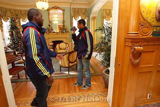 Jean Alexandre and Rachid El Khalifi (right) take an impromptu video tour of the Governor's Mansion after a luncheon Tuesday, November 24 2009.