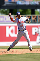Hagerstown Suns third baseman Drew Ward (11) warmup throw to first during a game against the Lexington Legends on May 19, 2014 at Whitaker Bank Ballpark in Lexington, Kentucky.  Lexington defeated Hagerstown 10-8.  (Mike Janes/Four Seam Images)