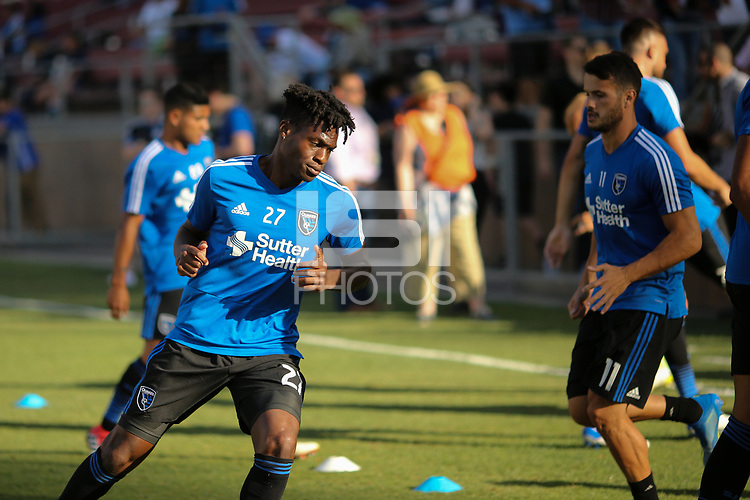 Stanford, CA - Saturday June 30, 2018: Fatai Alashe prior to a Major League Soccer (MLS) match between the San Jose Earthquakes and the LA Galaxy at Stanford Stadium.